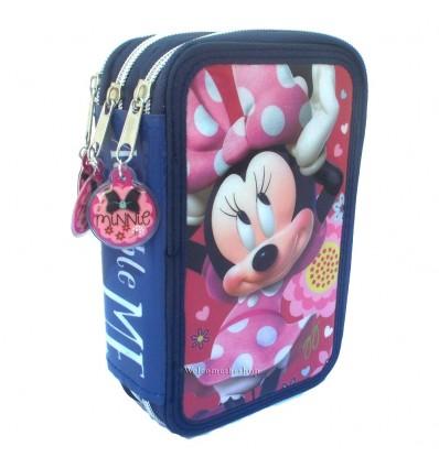 Astuccio Scuola Disney Minnie Mouse a Tripla Scomparto Con Colori Giotto 44 Pezzi