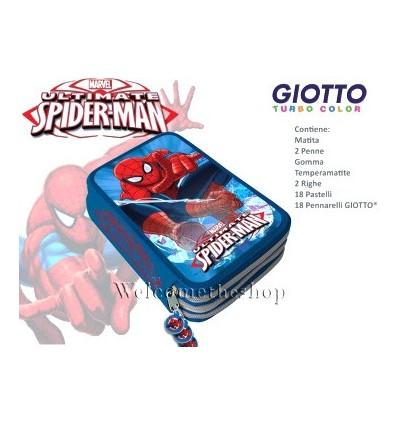 Astuccio Scuola Marvel Spiderman a Tripla Scomparto Con Colori Giotto 44 Pezzi