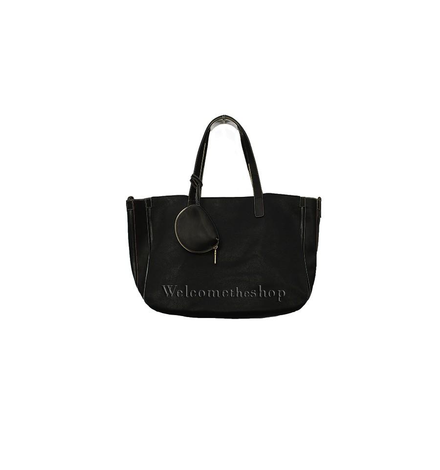 4fb42e77d4 A00357 - MagicBags Shopping Bag a mano con tracolla - monocromatica -  design essenziale - tote