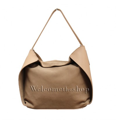 Ap00001 - Shopper bag a mano con tracolla staccabile - vera pelle monocromatica - stile casual - design essenziale
