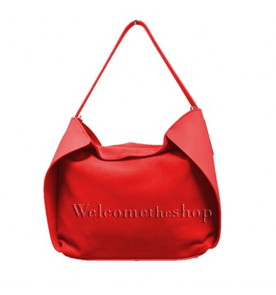 Ap00001 - Shopper bag a mano con tracolla staccabile - vera pelle monocromatica - stile casual - design essenziale