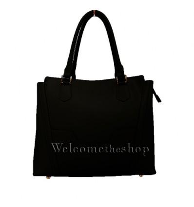 Ap00002 - Tote bag a mano con tracolla staccabile - vera pelle monocromatica - stile sobrio - design classico