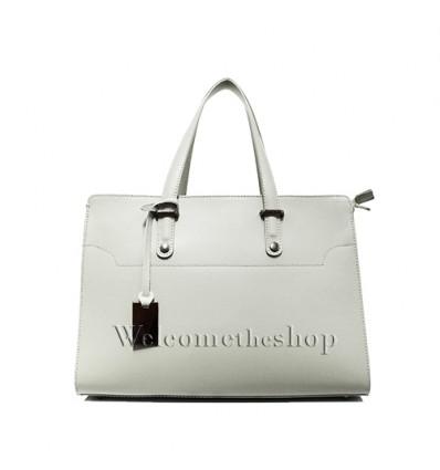 Ap00003 - Tote bag a mano con tracolla staccabile - vera pelle monocromatica - design lineare - stile classico