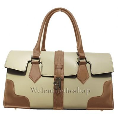 Ap00004 - Hand bag a mano con tracolla staccabile - vera pelle bicromatica - design trendy - feel glamour