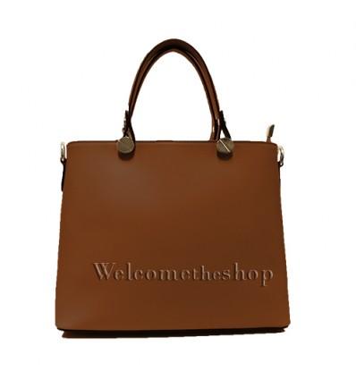 Ap00006 - Tote bag a mano con tracolla staccabile - vera pelle monocromatica - versatile - stile casual-chic - design lineare