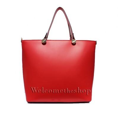 Ap00007 - Shopper bag con tracolla staccabile - vera pelle monocromatica - versatile design minimal forma a trapezio