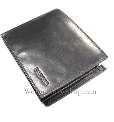 B00005 - Portafogli Uomo Valentini vera pelle morbido nero wallet bifold